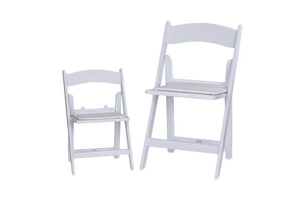 kid resin white folding padded chair wow party rentals