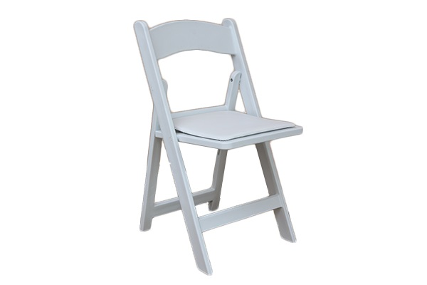 resin white folding padded chair wow party rentals